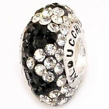 Authentic Alducchi Clear -Black Crystal 925 Sterling Silver European Charm Bead.