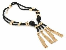 Zest Rope Long Necklace with Charms & Tassels Black & Gold