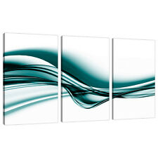 Juego De 3 Teal tela pared arte Impresiones Uk Living Bed Room Fotos 3033