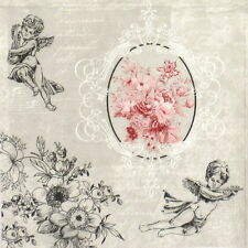 4x Single Table Party Paper Napkins for Decoupage Decopatch Vintage Angel Roses