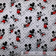 BonEful Fabric FQ Cotton Quilt Red Black White B&W Gray S Mickey Mouse Face Head