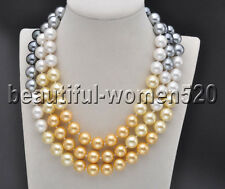 Z8244 12mm Gradient Golden-Black SOUTH SEA SHELL PEARL NECKLACE 50inch