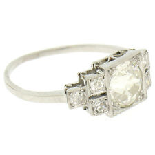Antique Art Deco Platinum 0.98ctw Old European Diamond Solitaire Engagement Ring