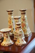 SIX PIECE ASIAN CANDLE HOLDER SET VINTAGE UNUSED W/ BOX YI LIN TREASURES CHINA