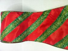 "CHRISTMAS GLITTERED RIBBON RED & GREEN STRIPPED 5"" x 15' Deco Mesh Wreath"