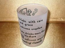 Souvenir Canada He Who Drinks With Care Welcome Saying Frosted Glass Shot Glass