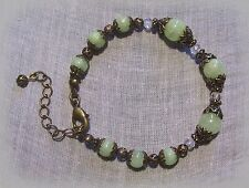 BRASS FILIGREE JASMINE FLOWER MINT GREEN JADE BRACELET VICTORIAN EDWARDIAN