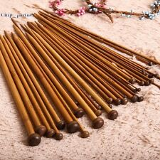 36pc 18Sizes 36cm Single Pointed Bamboo Knitting Needles Lot Smooth Craft Tools
