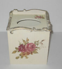 Wood  Cream Color W/ Roses & Gold Trim Tissue Box Cover  Very Shabby