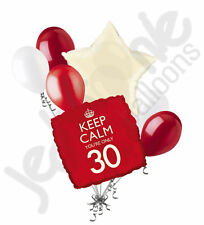 7pc Red Keep Calm You're Only 30 Happy Birthday Balloon Bouquet Party Decoration