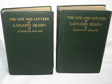 LAFCADIO HEARN LIFE & LETTERS 2 VOL SET 1906 + CLIPPING 475 & 560 pp BISLAND VG