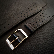 Hirsch Genuine CALF LEATHER 16mm watch strap Military trench Black 60's VINTAGE