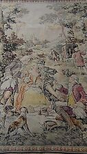 """ANTIQUE 19C FRENCH TAPESTRY """"PICNIK ON LANDSCAPE BY A CASTLE"""""""