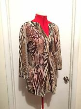 Susan Graver Style Sheer Empire Waist Tunic Top Shirt Plus Size 1X 16W 18W Boho