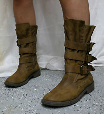 Brash Womens Brown Three Buckle Zipper Zip Up Ankle Boots Sz 8 Combat Boots