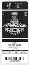 2014-2015 NHL SHARKS @ LA KINGS FULL UNUSED HOCKEY TICKET - BANNER OPENING NIGHT