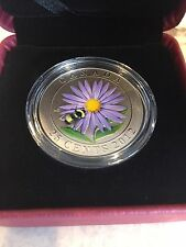 2012 Canada 25 Cent Coloured Coin - Aster And Bumble Bee - Limited