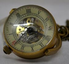 Retro Ball Glass Copper Hand Winding Mechanical Pendant Steampunk Pocket Watch