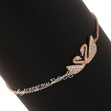 Cute Swan 18K Rose Gold GP Swarovski Crystal Chain Fashion Bracelet 460
