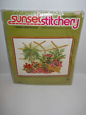 """""""Garden Greenhouse"""" Crewel Embroidery kit by Sunset Stitchery 1978 ~ Free Ship ~"""
