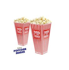 Plastic POPCORN HOLDERS X 6 Movie Carton Box RETRO STRIPE Theatre Party sweets