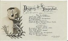 100+ YEARS OLD! B & W: DESPUES DE LA TEMPESTAD - POSTCARD!
