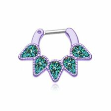 "Purple Septum Clicker 16g 1/4"" 6mm Opal Black Quinary Spear Septum Ring"