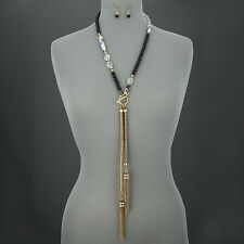 Antique Gold Black Clear Faceted Stones Chain Tassels Necklace With Earrings