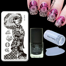 Lace Girl Nail Art Stamp Plate & Black Stamping Polish & Stamper Scraper DIY