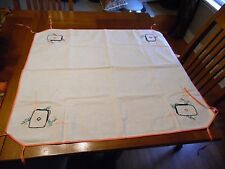 Vintage Retro Embroidered Handmade Bridge Card Table Cover With Ties