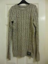 Superdry Mens Cable Marl Grey Jumper Small
