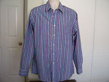 Puritan Mens Shirt Long Sleeve Button Front Wrinkle Free Striped Size 16 1/2