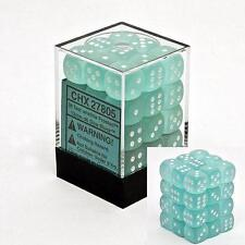 Chessex Dice (36) Block Sets 12mm D6 Frosted Teal w/ White Pips 36 Set CHX 27805