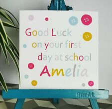 PERSONALISED Handmade Good Luck First Day At School Buttons Card