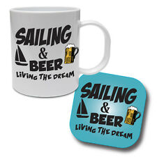 SAILING & BEER - Sail / Yachting / Funny Gift Idea Ceramic Mug & Coaster Set