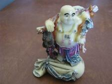 """Chinese Carved Resin Laughing Buddha on a Bag Ivory Colored Bone Figurine 3 1/2"""""""