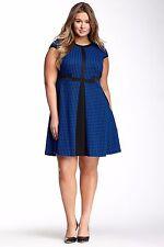 JULIA JORDAN Trendy Black Blue Jacquard Knit City Chic Fit & Flare Dress 24W 3X
