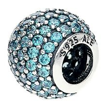 Authentic Pandora Sterling Silver Teal Pave Ball Charm 791051MCZ