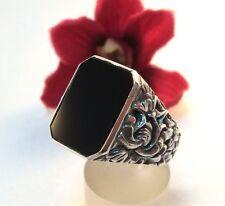 alter Onyx Siegelring 835 er Silber Fingerring Ring / bk 522
