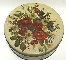 Vintage OLIVE CAN CHICAGO Needlepoint Floral Bouquet Tin • 7 Inch USA
