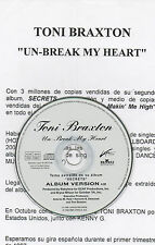 "TONI BRAXTON ""UN-BREAK MY HEART"" SPANISH PROMO CD SINGLE+INFO SHEET / BABYFACE"