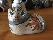 3.25vintage hand painted Tonala Jalisco Mexico pottery CAT,hand painted folk art
