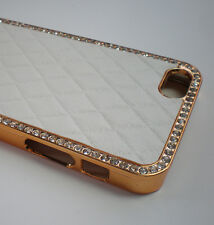 For Apple iPhone 4 White Leather Diamond Gold Rhinestone Luxury Bling Case