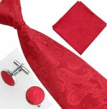 Men's Paisley Tie, Cufflinks, Hankerchief Set In Different Colour