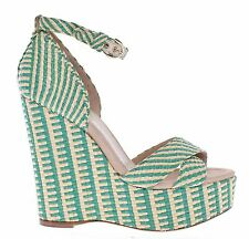 NWT $600 DOLCE & GABBANA D&G Green Beige Straw Platform Wedges Shoes EU38 /US7.5