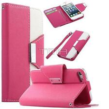 PU Leather Flip Credit Card Wallet Stand Case For iPod 5 5th Generation - Pink