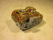 Vintage Toy Hero Tin Wind Up Super-X X-81 Flip Roll Over Army Tank Japan NOS