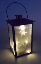 Dekobote Metall Laterne 3D Holografie 10 LED Lichterkette Sterne Weihnachten
