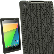 Black Silicone Skin Case Cover Tire Tread for Asus Google Nexus 7 2013 2nd Gen