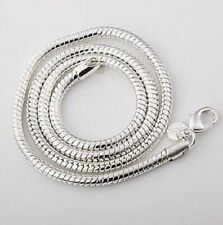"Mens /womans 925 Silver Snake Chain Necklace 2mm round width 20"" inch great gift"